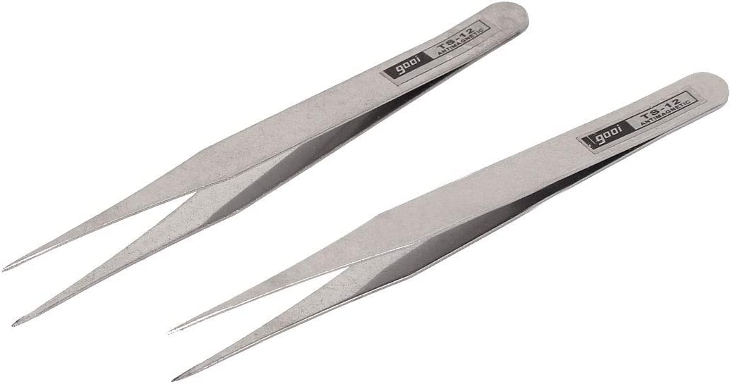 Uxcell Silver Tone Metal Pointy Tip Straight Tweezers 115mm