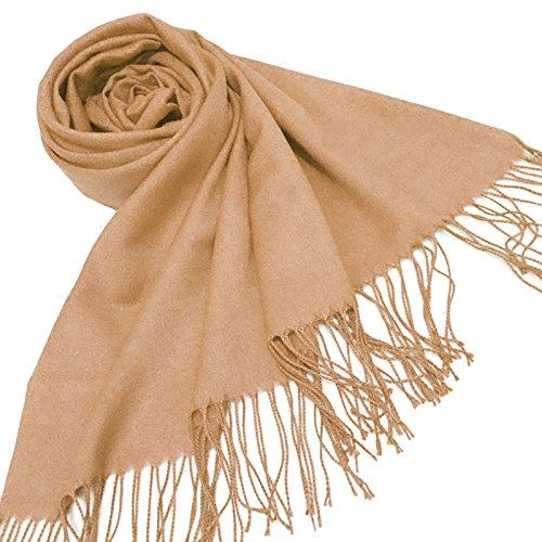 (Women Winter Cashmere Blend Pashmina Solid Tassel Shawl Wrap Scarves Brown gift)