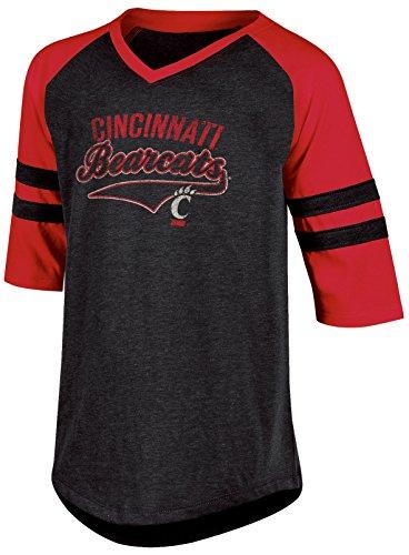 (Champion (CHAFK) NCAA Cincinnati Bearcats Youth Girls Half Sleeve Tunic Tee wit, Small, Black Heather)