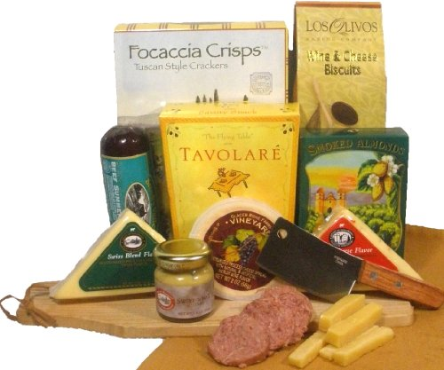 - Delight Expressions Meat and Cheese Pleaser Gourmet Gift - A Birthday or Get Well Gift Basket