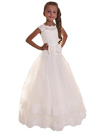 35ee672a8 Amazon.com  KSDN Flower Girl Dress Cap Sleeve Lace Princess Corset ...