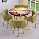 Round Table/Wall/Floor Decal Strikers/Removable/Traveler Woman with Backpack on Mountain Surveying Sunset Adventure Photo Print/for Living Room/Kitchens/Office Decoration