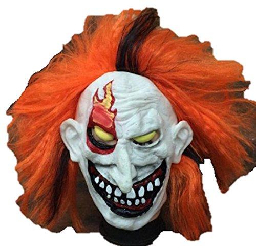 [ShonanCos Clown Adult Latex Head Mask Joker for Halloween] (Jigsaw Costume Face Paint)