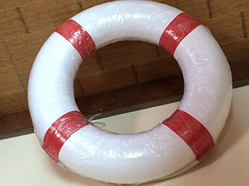 Foam Swim Rings - Swimming Pool Life Ring Buoy with Perimeter Rope (Red) by F&U (Image #1)