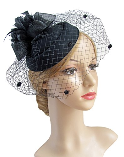 [Fascinator Hair Clip Pillbox Hat Bowler Feather Flower Veil Wedding Party Hat Tea Hat (black1)] (Black Bridal Veil Costume)