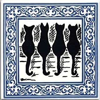 product image for Besheer Art Tile CAT Tiles - CAT Wall PLAQUES - CAT TRIVETS with Blue Victorian Border