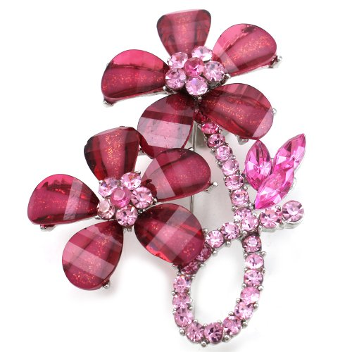 Hot Pink Ribbon Floral Flower Petals Brooch Pin Charm Glitter -