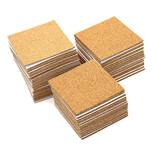 M-Aimee 100 Pack Self-Adhesive Cork Squares 4 x 4 Inches Cork Backing Sheets Mini Wall Cork Tiles with a Storage Bag for Coasters and DIY Crafts