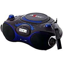 Axess PB2704-BL Portable MP3/CD Boombox with AM/FM Stereo, USB, SD, MMC, AUX Inputs (Blue)