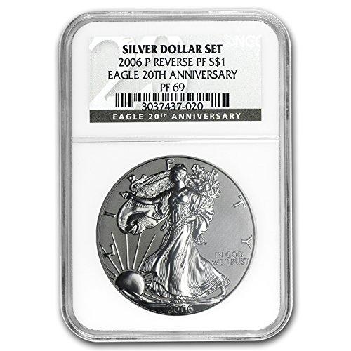 2006 P Reverse Proof Silver Eagle PF-69 NGC (20th Anniv) Silver PR-69 NGC