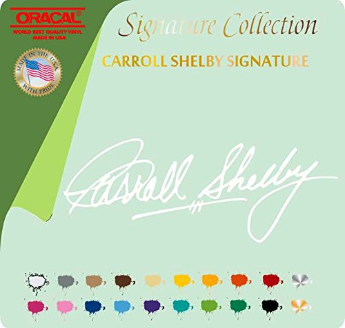 """CARROLL SHELBY SIGNATURE VINYL STICKER DECAL FORD COBRA RACE MUSTANG TRACK (4"""" X 10"""", White 010)"""