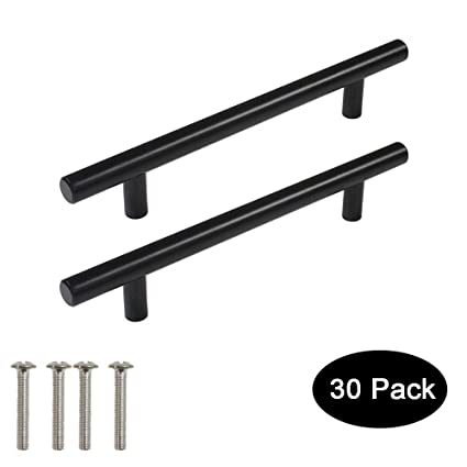 30 Pack Probrico Black Stainless Steel Kitchen Cabinet Door Handles T Bar Drawer Pulls Knobs Diameter 1 2 Inch Hole Centers 5inch 7 1 2inch Length