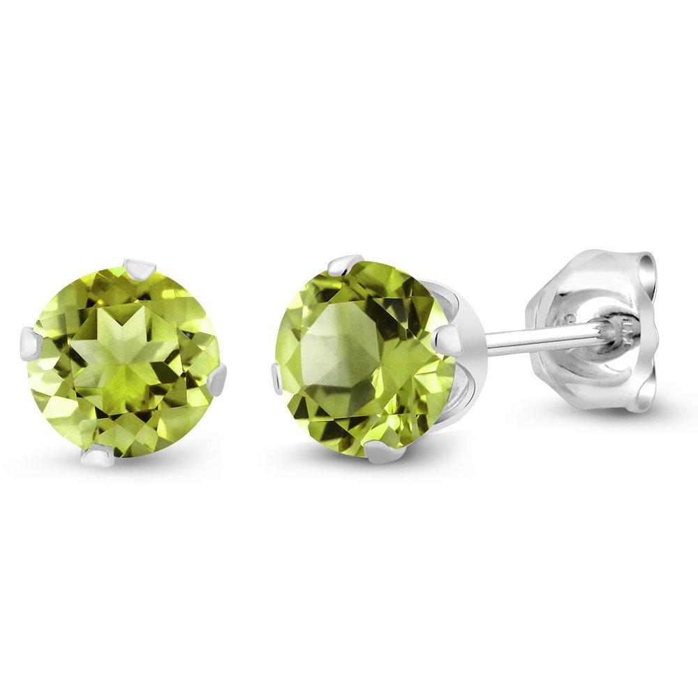 Gem Stone King Green Peridot 925 Sterling Silver Womens Stud Earrings 1.00 Ct Gemstone Birthstone Round 5MM