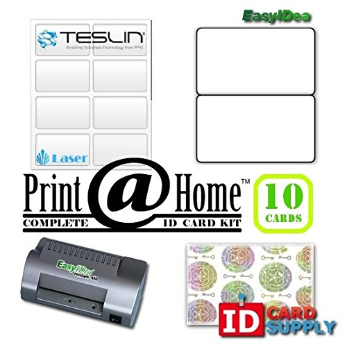 10 ID Card Kit with ML450T Laminator, Teslin ID Paper, Butterfly Pouches, and Holograms for Laser -