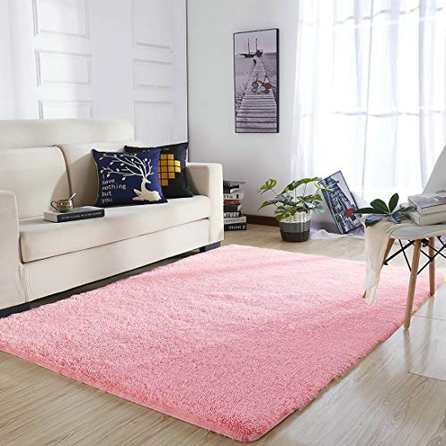 YOH Super Soft Area Rugs(3rd Generation) Fluffy Shaggy Rugs for Bedroom Living Room Kids Room Nursery Home Decor 4 Feet by 5.3 Feet,Pink -