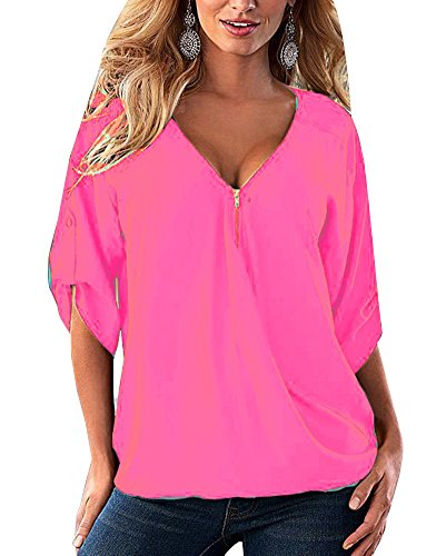 Longues Lache Manches Zipper Femme V Hauts Blouses Tops Pink Chemisiers Col Shirts qUatUwTnYC