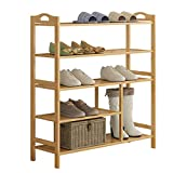 ZHIRONG Bamboo 5-Tier Shoe Rack 12-16 Pairs Entryway Shoe Shelf Storage Organizer 702693CM / 802693CM / 902693CM