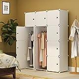 #6: KOUSI Portable Clothes Closet Wardrobe Bedroom Armoire Dresser Cube Storage Organizer, Capacious & Customizable, White, 6 Cubes+2 Hanging Sections