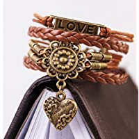 Infinity LOVE Heart Flower Friendship Retro Copper Leather Charm Bracelet L7S