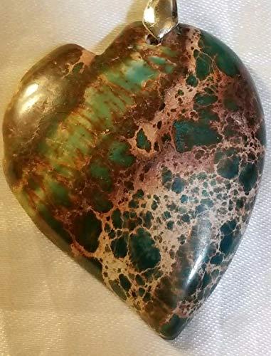 - Green/Purple Ayaka Agate Heart Pendant Bead 925 Silver Chain US-241