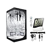 TopoGrow 36''X36''X72'' Mylar Hydroponic Grow Tent Kit W/Digital Hygrometer Thermometer Humidity Monitor+2 PCS/1 Pair Rope Grow Light Hangers Ratchet Indoor Plant Growing (36''X36''X72'')