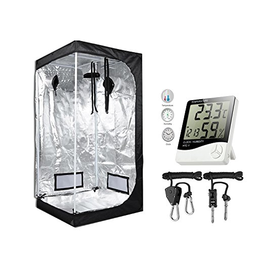 TopoGrow 36''X36''X72'' Mylar Hydroponic Grow Tent Kit W/Digital Hygrometer Thermometer Humidity Monitor+2 PCS/1 Pair Rope Grow Light Hangers Ratchet Indoor Plant Growing (36''X36''X72'') by TopoGrow