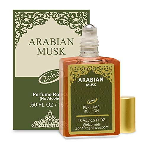 Arabian Musk Perfume Oil Roll-On (No Alcohol) aka Oud Fragrance Oil - Essential Oils and Perfumes for Women and Men by Zoha Fragrances, 15 ml / 0.50 fl Oz
