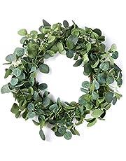 Eucalyptus Wreath - 19 Inches Artificial Green Leaf Wreaths for Front Door / Front Door Wreath for All Seasons / Spring Summer Eucalyptus Mixed Green Wreath for Wall Window Farmhouse Decor