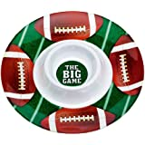 """Amscan Football Frenzy Birthday Party Chip & Dip Plastic Tray (1 Piece), Green/Brown, 13.2 x 13.2"""""""