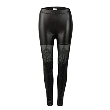 8a0d6f798700bb Farmerl Women Sexy Slim Featuring lace Casual Leather Pants at Amazon Women's  Clothing store: