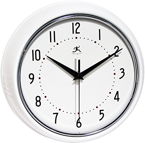 Infinity Instruments Retro Round Metal Wall Clock, White