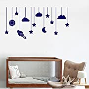 Large Vinyl Wall Decal Moon Cloud Star Nursery Kids Room Art Stickers (ig3666) Dark Blue
