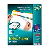 Wholesale CASE of 10 - Avery Index Maker Punched Clear Label Tab Dividers-Index Maker, Laser/Ink jet, 12 Tab, 5-Set, Multicolor