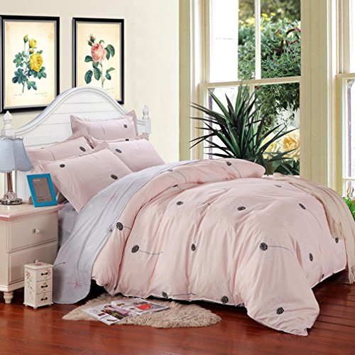 SAYM Home Bedding Sets Elegant Rural Style Print Kids Set For Lovely Teen Girls 100% Polyester Fiber School Duvet Cover,Flat Sheet,Shams Set 4Pieces Pink Queen