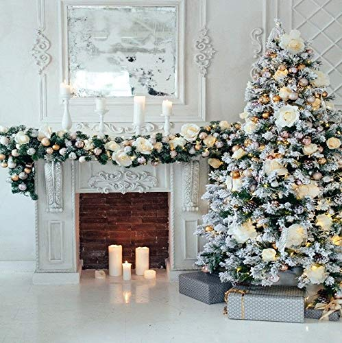 FidgetFidget 8x8 ホームデコレーション クリスマスツリー 背景 暖炉 写真背景 スタジオ小道具   B07L9XYH5Y