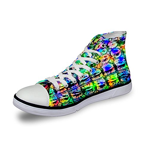 Per Te Disegni Moda Animali Stampa Comoda Alta Top Canvas Sneakers Da Donna E Da Uomo Lace Up Stripe 5