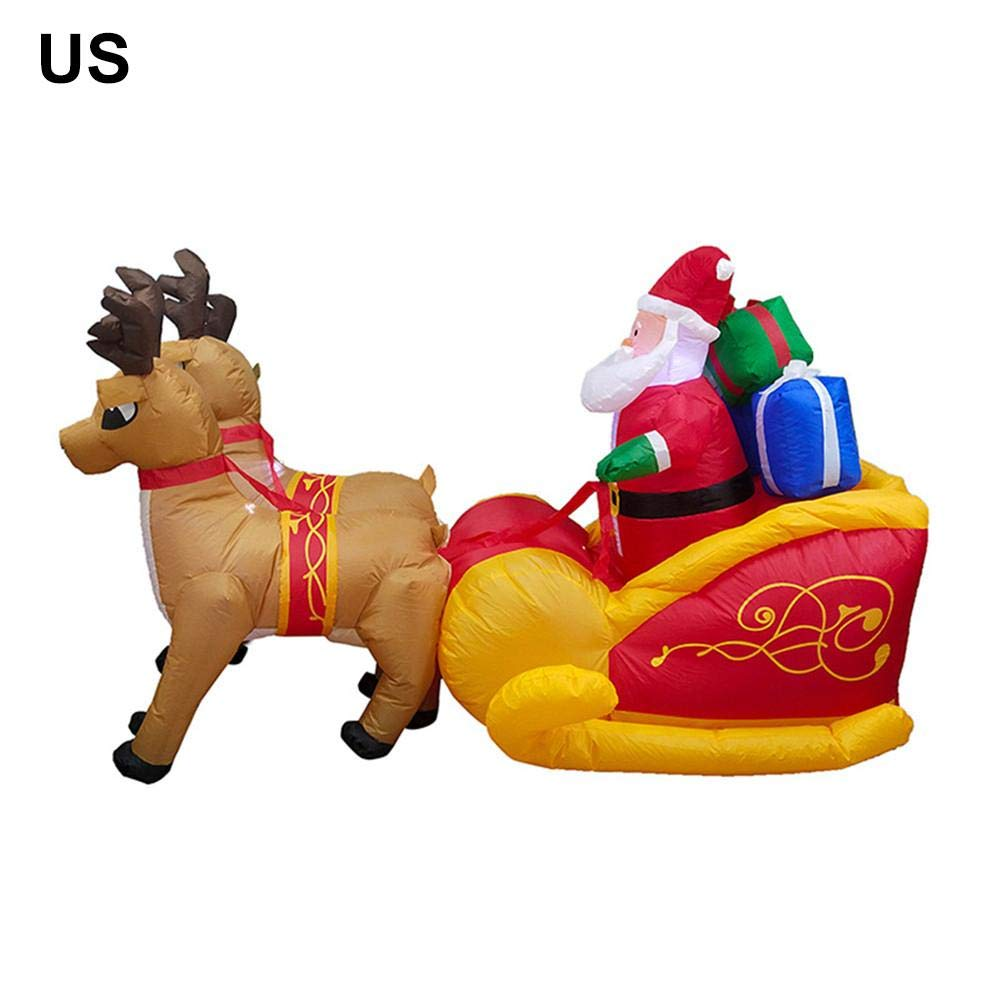 astolily Christmas Inflatable Doll, Elk Sleigh Santa Claus Inflatable Garden Ornament by astolily