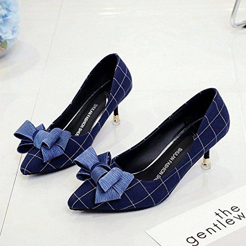 tacón de azul solo la la wild 38 zapatos pajarita alto zapatos de de Qiqi punta Xue chica luz fina A con los Ugqw1WnPIx