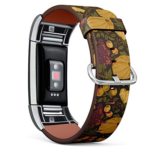 Compatible with Fitbit Charge 2 - Leather Watch Wrist Band Strap Bracelet with Stainless Steel Clasp and Adapters (Autumn Harvest Pumpkin Sunflower Nuts) ()