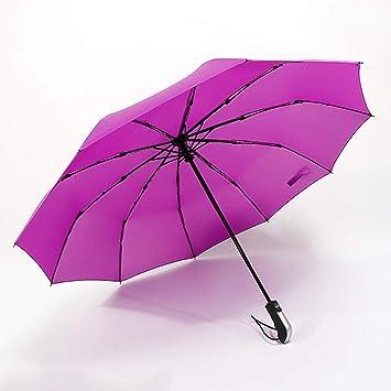 PFSXZTW Paraguas Plegables Completamente automáticos Plegables comerciales para Hombre Sombrillas Grandes apacibles a Prueba de Viento