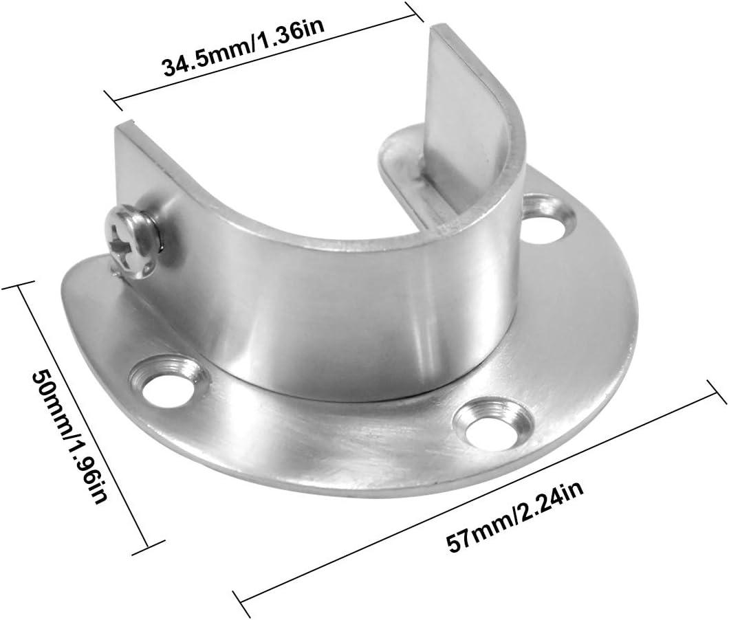 Fodlon Support de Tringle /à Rideau Lot de 2 Acier Inoxydable Supports de Tube de Penderie Bride Ouverte en Forme de U avec Prises de Poteau de Placard Vis 32.5mm