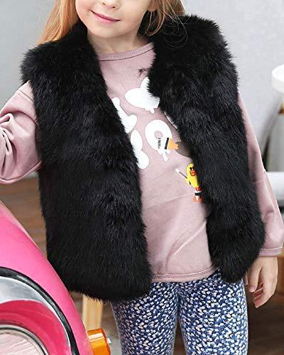 3 Color Xl Gilets Of Age Casaul En Fourrure Noir Girlss Taille Pure Sans 8t Fausse Oudan coloré Noir Kid Manches 1qzUxEnOw