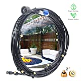 DMCSHOP Outdoor Misting Cooling System - Mist System Kit Garden Patio Fan Gazebo Irrigation-10 Brass Nozzles 32.8FT (10M), One Water Filters Shut Off Valve