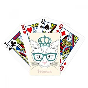 Crown Sunglass White Cat Princess Poker Playing Cards Tabletop Game Gift
