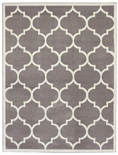 Ottomanson Paterson Collection Grey Contemporary Moroccan Trellis Design Lattice Area Rug, 5