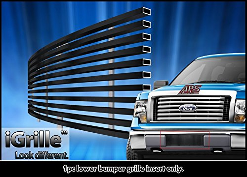 Black Stainless Steel eGrille Billet Grille Grill For 2009-2014 Ford F-150 Lower Bumper