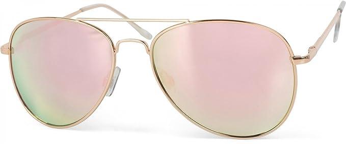 styleBREAKER gafas de sol de espejo, gafas de aviador coloreadas con bisagra de muelle, unisex 09020037
