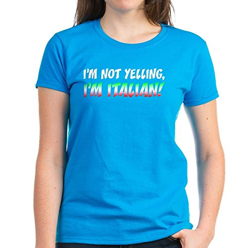 (CafePress - Not Yelling Italian Light T-Shirt - Womens Cotton T-Shirt Caribbean Blue)