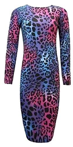 LUSH LANE Womens Long Sleeves Printed Bodycon Long Stretchy Midi Dress