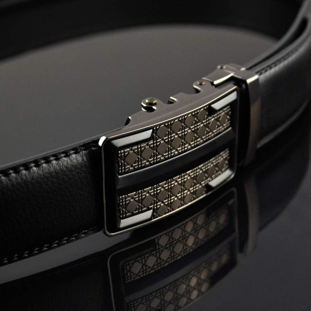 DENGDAI Mens Belt Leather Men Automatic Buckle Belt Length 100-135cm
